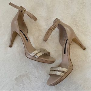 EUC French Connection gold high heel sandals